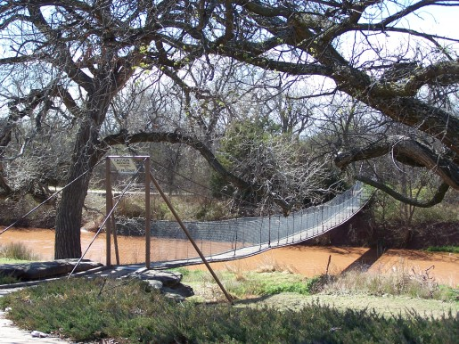 Swinging Bridge across Wichita River